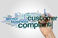 Customer complaint word cloud on grey background royalty free stock photo