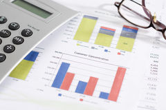 Customer Concentration Chart and finances. Chart showing customer concentration and finances - shallow depth of field royalty free stock images