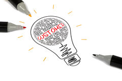 Customer concept shown in light bulb. On white background stock image