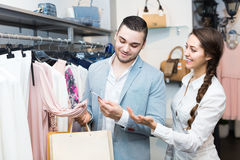 Customer consulting with shop assistant Stock Photography