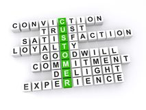 Customer crossword. Customer spelled in 3D toy blocks crossword puzzle style with supporting works Royalty Free Stock Images