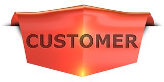 Banner customer. Customer 3D rendered red banner , isolated on white background Royalty Free Stock Photo
