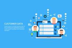 Customer data, client profile, market segmentation, management, portfolio, concept. Flat design vector banner. Customer database displaying on a laptop screen Stock Images