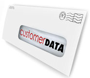 Customer Data Direct Mail Campaign Marketing Advertising Message. Customer Data words on an envelope or direct marketing mailing to illustrate contact Royalty Free Stock Photography