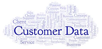 Customer Data word cloud. Made with text only royalty free illustration