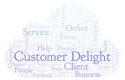 Customer Delight word cloud. Made with text only royalty free illustration