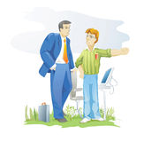 Customer and designer. Designer talking to customer about your services royalty free illustration