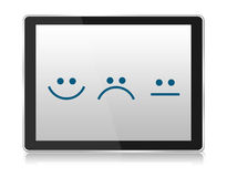 Customer Emotion icons in tablet on white background Stock Images
