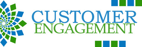 Customer Engagement Green Blue Squares Horizontal Stock Images