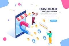 Customer Engagement for Like or Star. Shopping process of customer. Infographic of Seo on a smartphone. Purchase on website campaign a message to engagement for stock illustration