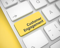 Customer Engagement - Message on the Yellow Keyboard Key. 3D. Stock Photo