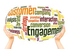Customer engagement word cloud hand sphere concept. Customer engagement word cloud concept on white background stock images