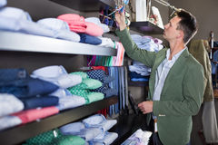 Customer examining ties in male cloths store. Young male customer examining ties in a male cloths store Stock Image