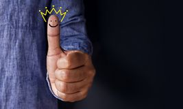 Customer Experience Concept, Best Excellent Services Rating for. Satisfaction present by Thumb of Client with Crown and Smiley Face icon royalty free stock images