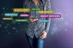 Customer Experience Concept. Happy Client using Smart Phone to R. Eading Positive Review or Feedback her Satisfaction Online Survey, Surrounded by Speech Bubble stock images