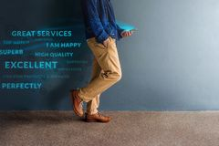 Free Customer Experience Concept. Person Walking And Reading Positive Stock Photo - 123433020