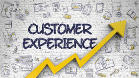 Customer Experience Drawn on White Brickwall. 3D. Stock Photos
