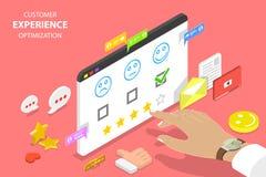 Customer experience optimization isometric flat vector concept. Isometric flat vector concept of customer experience optimization, crm, relationship management vector illustration