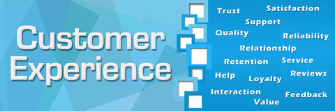 Customer Experience Wordcloud Blue Square Separator. Customer experience text and related wordcloud over blue background Stock Image