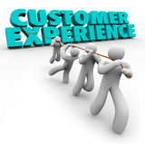 Customer Experience Workforce Clients Pulling Words Satisfaction. Customer Experience 3d words pulled by a team of workers or staff to improve client royalty free illustration
