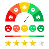 Customer feedback concept. Emoticon scale and rating satisfaction. Survey for clients, rating system concept. Stars, emojis in different mood. Vector royalty free illustration