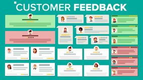 Customer Feedback Vector. Business Positive, Negative Review. Store Quality Work. Testimonials Notification Messages. Customer Feedback Vector. Good And Bad Royalty Free Stock Photography