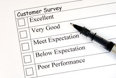 Customer fills in the survey Royalty Free Stock Photography