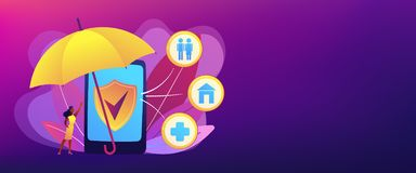 On-demand insurance concept banner header. Customer getting insurance coverage and protection using smartphone. On-demand insurance, online policy, personalized stock illustration