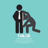 Customer Getting Measure By Tailor Symbol. Vector Illustration Royalty Free Stock Image