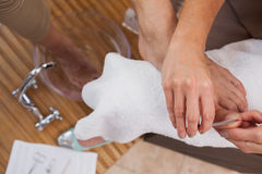 Customer getting a pedicure Stock Images