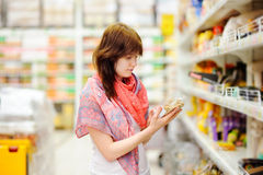 Customer at groceries store Stock Image