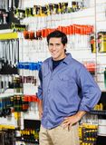 Customer With Hands On Hip Smiling In Hardware Royalty Free Stock Photo