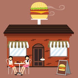 Customer In Front Of Burger Shop Fast Food Restaurant Enjoy Meals Coffee With Friends Royalty Free Stock Photography