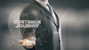Customer Journey with bulb hologram businessman concept