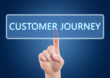 Customer Journey. Hand pressing Customer Journey button on interface with blue background Royalty Free Stock Images