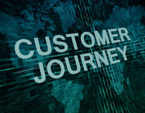 Customer Journey. Text concept on green digital world map background Royalty Free Stock Image