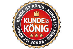 Customer is King Label. A label with the german words for Customer is King: Kunde ist König Stock Photos