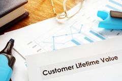 Customer lifetime value CLV or CLTV report papers. royalty free stock image