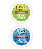 Customer live support buttons. Professional customer live support buttons isolated on white Stock Photography