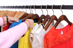 Customer looking for clothes Stock Photos