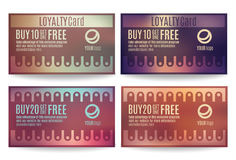 Customer loyalty card templates. Bright and colorful Customer loyalty card or reward card templates royalty free illustration