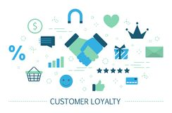 Customer loyalty concept. Attract clients and build relationships. Customer retention or loyalty concept. Attract clients and build relationships. Business royalty free illustration
