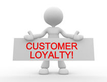 Customer loyalty!. 3d people - man , person with board. Customer loyalty Royalty Free Stock Images