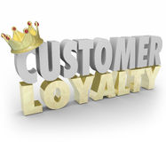 Customer Loyalty 3d Words Crown Return Repeat Business Top Clien. Customer Loyalty words in 3d letters with gold crown to illustrate top or best repeat and Royalty Free Stock Photography