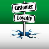Customer loyalty plates. Abstract colorful background with two plates with the text customer loyalty coming out from an ice crack Royalty Free Stock Image