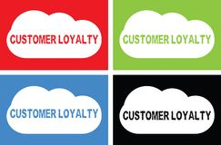 CUSTOMER LOYALTY text, on cloud bubble sign. Royalty Free Stock Image