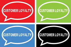 CUSTOMER LOYALTY text, on ellipse speech bubble sign. Royalty Free Stock Images