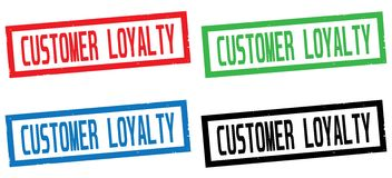 CUSTOMER LOYALTY text, on rectangle border stamp sign. Stock Image