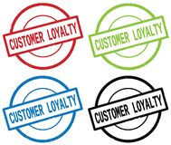 CUSTOMER LOYALTY text, on round simple stamp sign. Stock Image