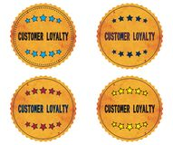 CUSTOMER LOYALTY text, on round wavy border vintage, stamp badge Stock Images